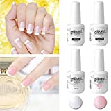 Elite99 Kit Manicura Francesa Uñas de Gel Polish Esmalte Semipermanente Color Gel Top y Base Coat 4pcs Laca Soak Off Top Coat Base Coat UV LED Manicura Arte 15ml