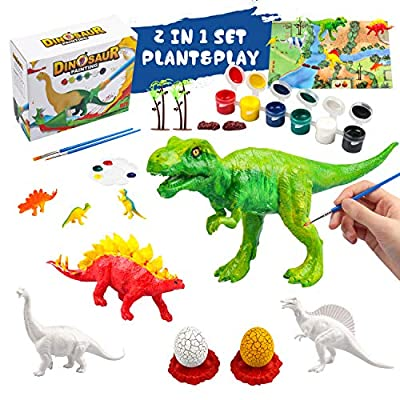 Kids Dinosaurs Arts and Crafts Painting Kit - Dinosaurs Toys for 4 5 6 7 8 Years Old Boys Girls Creative DIY Gift, Paint Your Own Dinosaur World Set