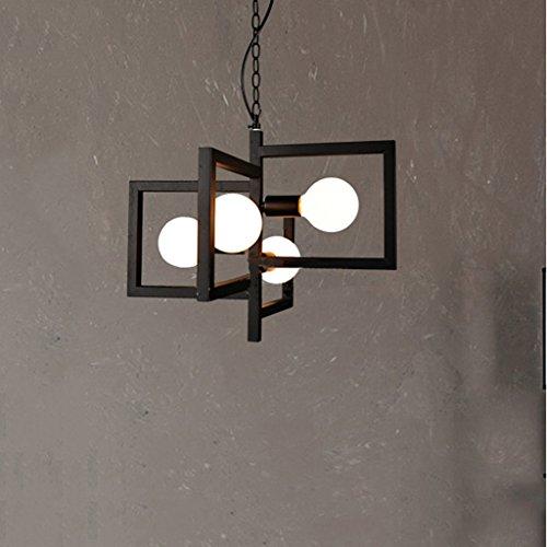 MEGSYL Vierkante lijst ijzeren plafondlamp, postmodern eenvoudige moderne soort kroonluchter, woonkamer restaurant slaapkamer decoratieve verlichting kroonluchter, 4 lichtbronnen ketting hanglamp, geometrische plafondlamp, zwart
