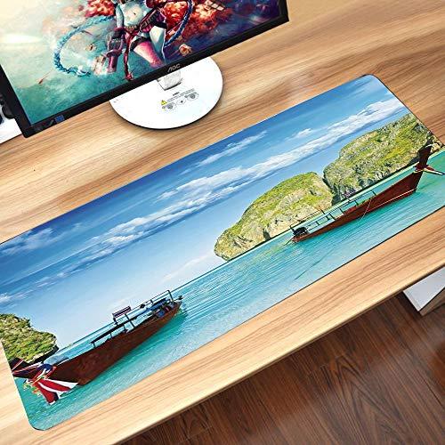 Gaming-Mauspad Gummiunterseite,Landschaft, traditionelle Longtail-Boote in der Maya-Bucht in Thailand Asian,Schreibtischunterlage Abwischbar Anti Rutsch Matte Multifunktionales Office Mousepad60x35cm