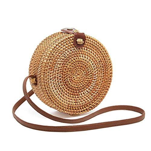 【ECO-FRIENDLY & RENEWABLE MATERIAL】 This round rattan bag was inspired by the boho bags found in the market stalls and shops of Indonesia. Made from natural rattan with elaborate handwoven by Balinese Artisans.The purses are woven, not glued to ensur...