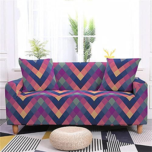 Fundas para SofaRosa Azul Violeta Funda Elastica Sofa Chaise Longue Fundas Sofa Rinconera con Respaldo Antideslizante Protector de Muebles (190cm-230cm)
