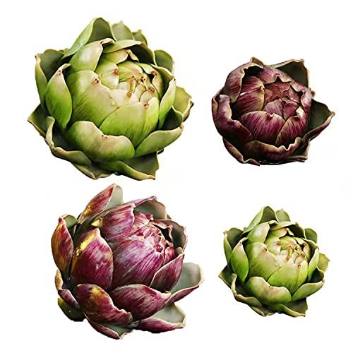 Künstliche Artischocken – Künstliche Früchte und Gemüse als Dekoration, künstliche Blumen, Blumenornamente für Küche, Salon, Dekoration, 4 Stück