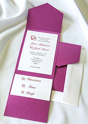 All-in-One Pocket Invitation Kit - Purple Shimmer Elegance - Pack of 20