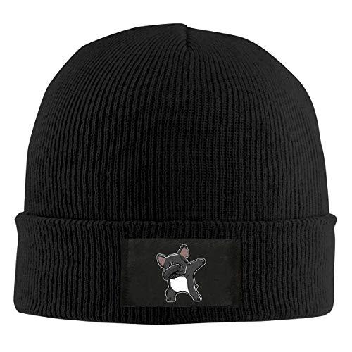 Field Rain Dabbing French Bulldog Fashion Men 's Warm Winter Hats Thick Knit Cuff Beanie Cap Black