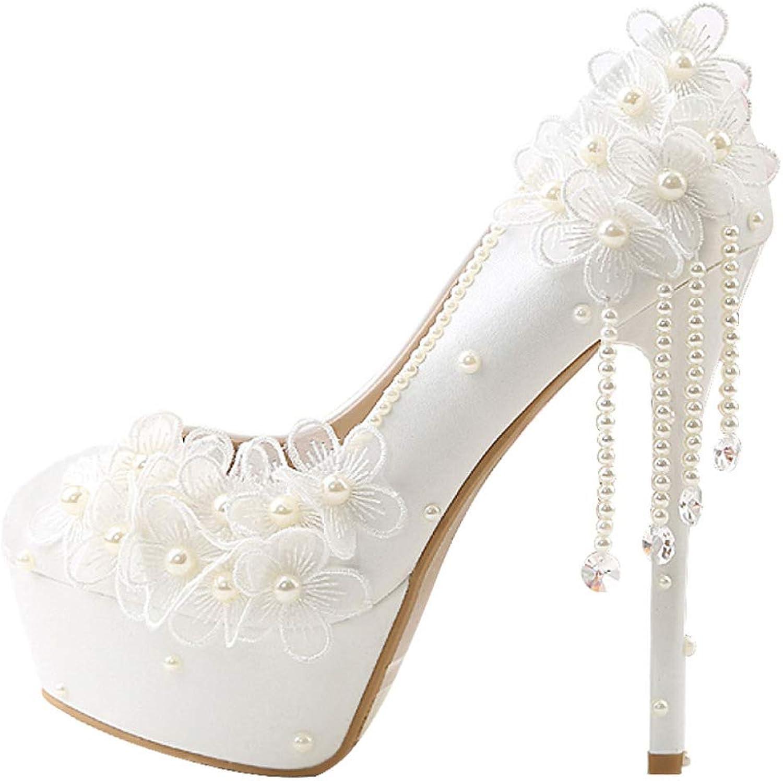 PLNXDM Hochzeitsschuhe Party Weie Perle Brautjungfer Schuhe Super High Heel Spitzenkleid Schuhe