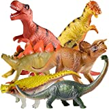 ✅ 6 PACK JUMBO DINOSAUR TOYS - The realistic dinosaur kit includes 12 inch Fierce T-Rex & Brachiosaurus,11 inch Stegosaurus & Dilophosaurus, 10 inch Triceratops & Mosasaurus.They are so lively and suitable toys for boys and girls. ✅ SAFE MATERIAL & B...
