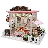 DHTOMC Casa de muñecas LED de madera de cacao para montar uno mismo, casa de muñecas con sonido ligero, modelo de juguete para autoorganización