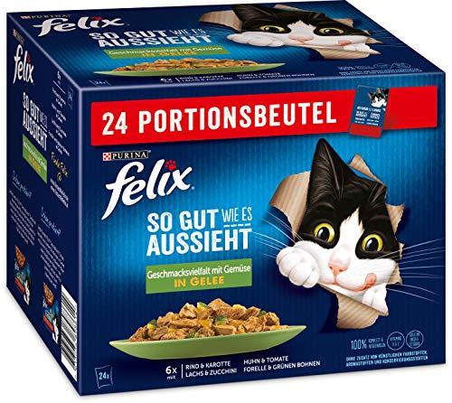 FELIX So gut wie es aussieht Katzenfutter nass in Gelee, Sorten-Mix, 4er Pack (4 x 24 Beutel à 85g)