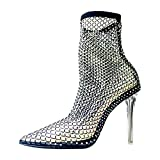 Baffoloo Women's Fishnet Rhinestone Pointed Toe Clear Stiletto High Heels Summer Party Casual Sparkly Sandals Black Size 10