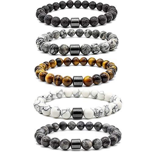Souarts 5er Armbänder für Frauen Männer Perlen Naturstein 8mm Magnetische Magnetarmband Armreif Ornament Armband Geburtstag Geschenk für Liebepaar