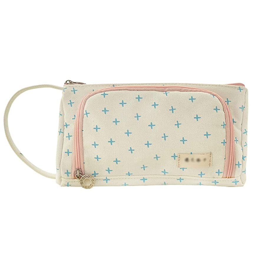 Samaz Pen Bag Pencil Case Large Capacity Canvas Pencil Bag Pouch Stationary Case Makeup Cosmetic Bag (Cross Pattern)