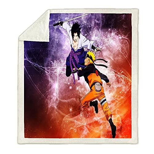 Kseyic Naruto - Coperta morbida e morbida, motivo cartone Naruto Shippuden Akatsuki, coperta da viaggio e da ufficio, 7,130 x 150 cm