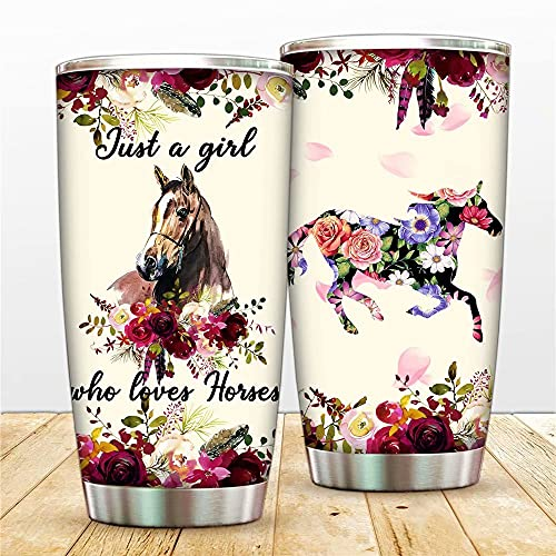 20oz Horse Flower Travel Tumbler with Lid and Straw -Just A Girl Who Love Horses Tumbler Cup Sport Water Bottle Stainless Steel Vacuum Insulated Coffee Mug,Christmas Birthday Mug for Best Friends