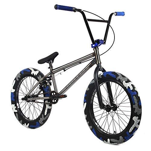 "Elite 20' & 18"" BMX Bicycle Destro Model Freestyle Bike - 4 Piece Cr-MO Handlebar (20' Raw Camo)"