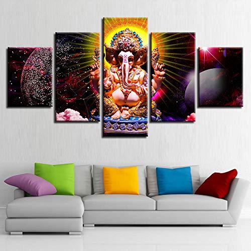 13Tdfc Leinwanddrucke Kreatives Geschenk 5 stück Leinwand Bilder Moderne Wandbilder XXL Wohnzimmer Wohnkultur Hinduistischer Gott der Weisheit Ganesha Malerei
