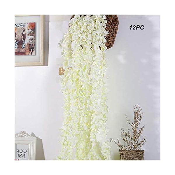 Homcomoda 12PC Artificial Hydrangea Flowers Vines Fake Silk Hanging Wisteria Garland Each 200 Flower Spray Arrangements for Wedding Home Garden Party Decor(Milky White