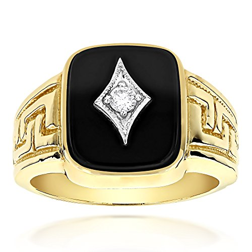 Luxurman Mens 14k Natural Black Onyx and 0.1 Ctw Diamond Ring For Him (Yellow Gold Size 12.5)