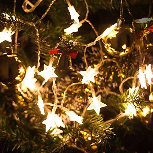 2 Pcs Christmas Lights Star String Lights 20 LED 10 FT Bedroom Twinkle Lights Waterproof Extendable for Indoor Outdoor Wedding Party Christmas Tree New Year, Garden Decoration Warm White