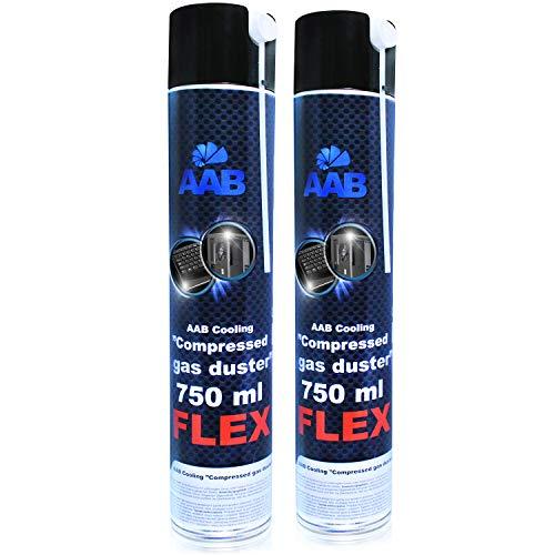 AABCOOLING Compressed Gas Duster FLEX 750ml - Wertpaket 2 Stück - mit Flexiblem Schlauch – Druckluftreiniger, Druckluftspray, Druckgasreiniger, Luftdruck, PC Reinigung