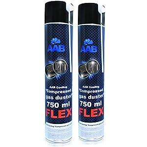 AABCOOLING Compressed Gas Duster FLEX 750ml - Conjunto de 2 - Spray con un Tubo Flexible, Limpiar PC y Televisiones, Spray de Aire Comprimido, Soplador de Aire