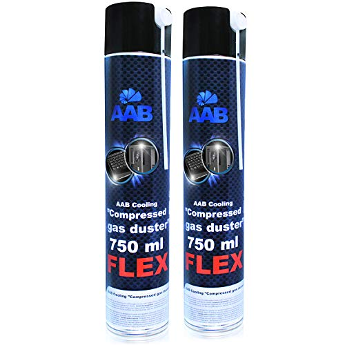 AABCOOLING Compressed Gas Duster FLEX 750ml - Set di 2 Pezzi - Aria Compressa PC Con un Tubo Flessibile, Pulitore PC, Tubo Aria Compressa, Kit Pulizia PC, Bombolette Spray
