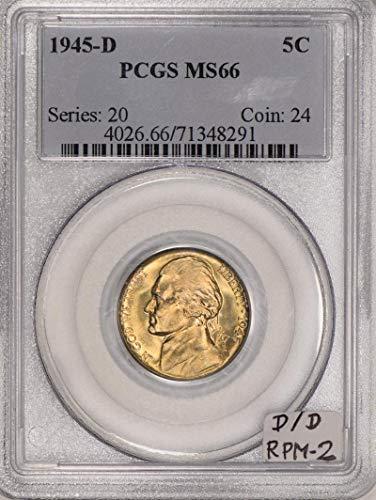 1945 D Jefferson D/D RPM-2 Nickel MS-66 PCGS