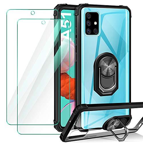 ivencase Cover Compatibile con Samsung Galaxy A51, 2 Pezzi Pellicola Protettiva in Vetro Temperato, Trasparente Airbag Antiurto Custodia con 360 Gradi Magnetico Supporto Silicone Bumper Case - Nero