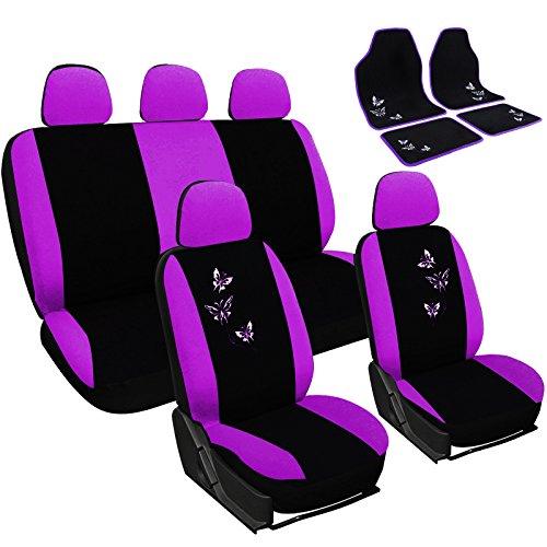 WOLTU AS7245+AM7140 Auto Sitzbezug + Fußmatten, Komplettset, PET, Schonbezug Fussmatten Set, Matten, für PKW, Stickerei Butterfly, Super Design, Schwarz/Violett, NEU & OVP