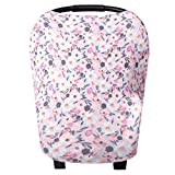 Baby Car Seat Cover Canopy and Nursing Cover Multi-Use Stretchy 5 in 1 Gift'Morgan' by Copper Pearl