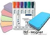 Papiertiger Berlin GmbH Neodym - Whiteboard/Magnetboardlöscher | sehr hohe Haftkraft | Knallige Intensive Farben [ himmelblau ] + 6er Etui Marken-Whiteboardmarker 351 WP6 von Staedtler