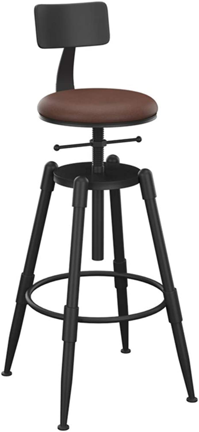 Barstool Retro Can Lift Up and Down Solid Iron Chairs Industrial Winds Decoration Stool High Stool High Chair for Kitchen   Pub   Café (color   Solid Wood,PU)