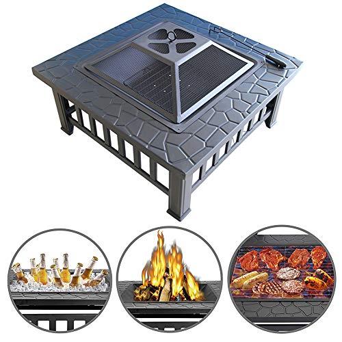 ZDYLM-Y Feuerstelle mit Grillrost, Feuerschalen für den Garten mit Holzkohlenständer, Poker- und Netzhülle für Camping-Picknickfeuer