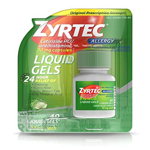 Zyrtec 24 HR Indoor/Outdoor Allergy Relief Liquid Gels Capsules, Cetirizine HCI Antihistamine, 40 ct
