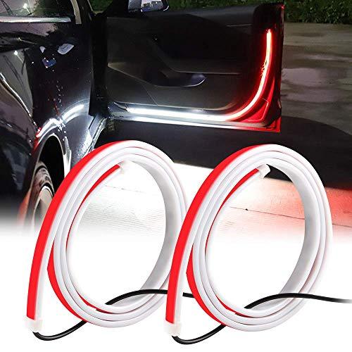 Teguangmei Luci di Striscia a LED per Portiera,47'' 144LED Luce Interna per Portiera Flessibile Bicolore Rosso/Bianco Utilizzata per Illuminazione,Decorazione e Avviso di Collisione Posteriore-2 pezzi