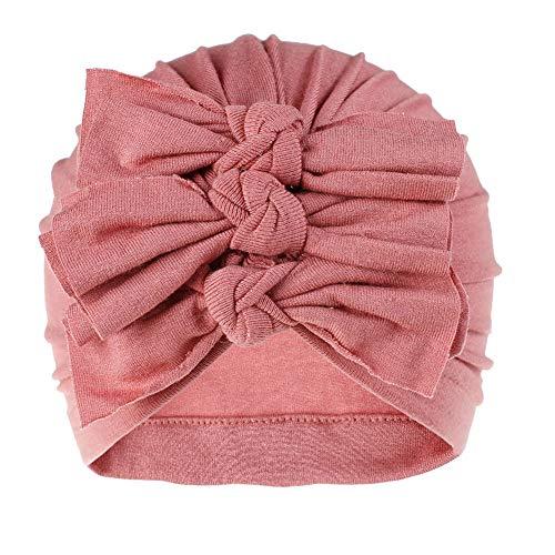 Baby Mädchen Mütze Neugeborene, Stirnband Haarband mit Bogen für 0-24 Monaten, Neugeborenes Baby-Mädchen Hut Beanie Headwear-Kappe Pink dunkelrosa Einheitsgröße