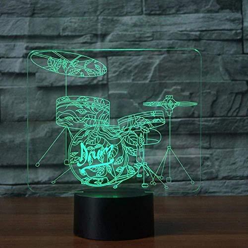 3D Night Light Home Decor 7 Color Rack Drum Set 3D Led Night Lights Musical Instruments Table Lamp Kids Bedside Light Fixture Gifts