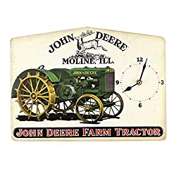 Open Road Brands John Deere Vintage Tractor Clock Embossed Metal Wall Art Sign - an Officially Licensed Product Great Addition to Add What You Love to Your Home/Garage Decor