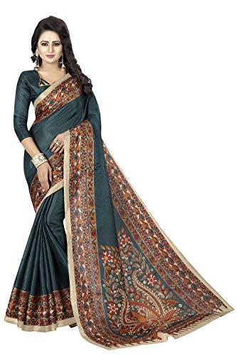 Peegli Saree Sari De Seda Bhagalpuri Verde Sari Kalamkari para Mujer con Pieza De Blusa