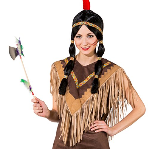 NET TOYS Indianer Poncho Umhang Indianerin Schulterumhang Squaw Pocahontas Cape mit Fransen