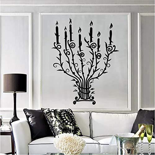 Muursticker kaars kandelaar kandelaar vintage takken licht vinyl venster sticker slaapkamer woonkamer decoratie 57 x 72 cm