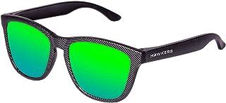 Gafas de Sol One Carbono, para Hombre y Mujer, con Montura Negra Mate con Trama y Lente Esmeralda Efecto Espejo, Protección UV400 Unisex Adulto