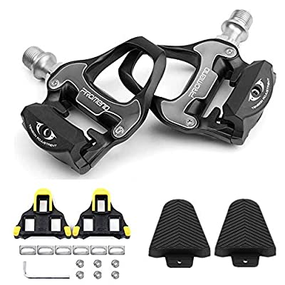 Forbest Bike Pedals Road Bike Pedals Ultralight Pedals Compatible with Shimano SPD-SL + Cleat Set + Cleat Covers, 3 in 1