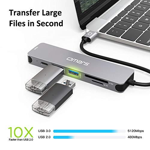 Omars USB C Hub, 6 in 1 Aluminium USB-C Adapter mit HDMI 4K Adapter, USB-C Stromversorgung, SD und Micro SD Kartenleser und 2 USB 3.1 Ports kompatibel für USB-C Geräte