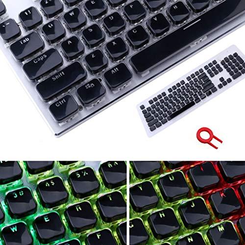 Juego de teclas de perfil bajo para teclado mecánico Cherry MX retroiluminado con diseño de borde de cristal con herramienta de extracción de llaves