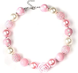 Bouren Pink Rose Chunky Bubblegum Bead Necklace for Girls