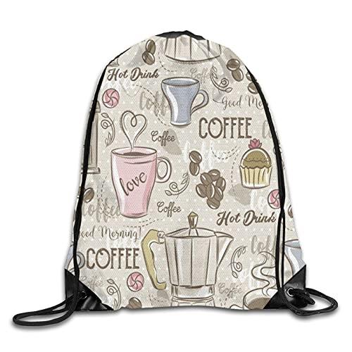 MOBEITI Sacs à dos avec cordon de serrage,conception de grains de café,machine à expresso vintage,conception de petits gâteaux,sac à dos de grande capacité,à domicile,sport pour hommes et femmes