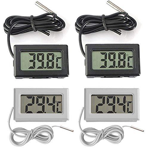 Thlevel Mini Digital LCD Thermomètre Température -50~70 ℃ de Température Capteur Testeur pour Réfrigérateur Congélateurs Aquarium (2X Noir 2X Blanc)