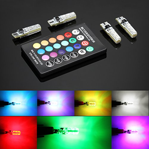 TOAUTO 4 Pack T10 RGB LED Bulb with Remote Control W5W Strobe 5050 Reading Wedge Lights,194 168 2825 Strobe Light 16 Colors ,Replacement Car Interior/Map/Dome/Door/License Plate Light