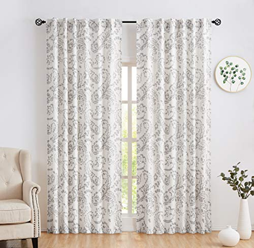 Amzdecor Paisley Linen Curtain Panels Back Tab and Rod Pocket Window Treatment Sets for Living Room Vintage, Floral Pattern Drapes with Extra Length Adjust IronTape,Set of 2 (52''W x 84''L,Gray )